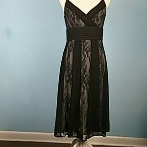Loft 6 lace pleated black dress spaghetti straps